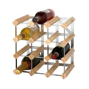 RTA Pine/Steel Wine Rack 12 Bottle